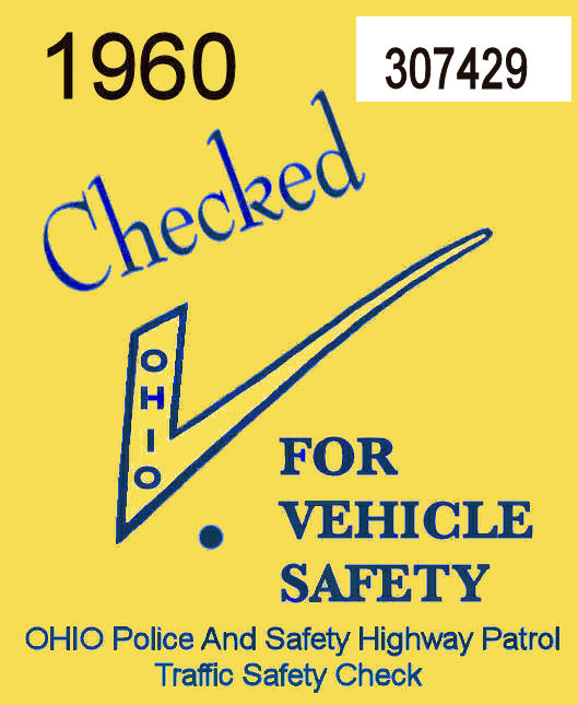 1960 Ohio Safety Inspection Sticker