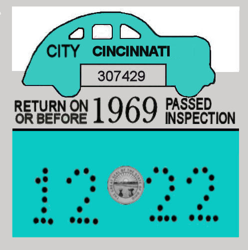 1969 Ohio INSPECTION Sticker