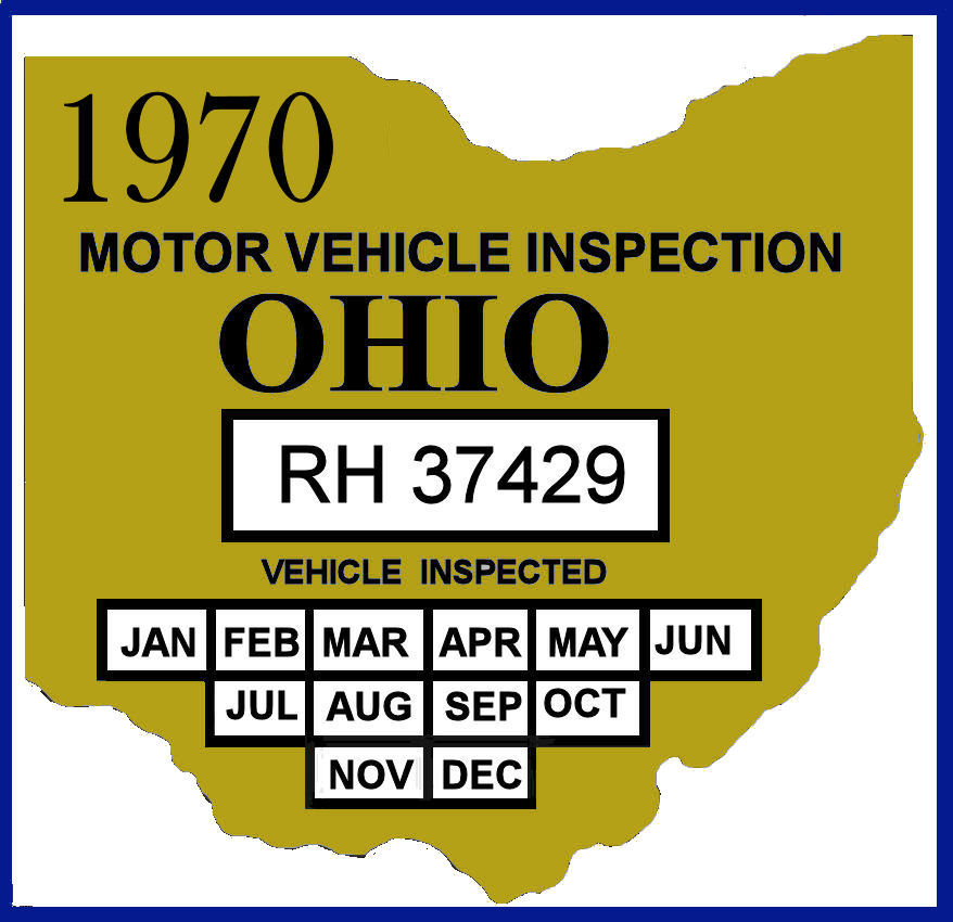 1970 Ohio inspection sticker