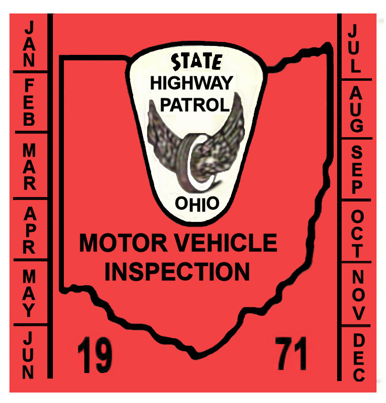1971 Ohio INSPECTION Sticker