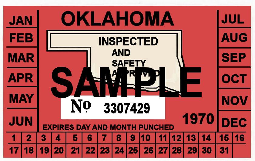 1970 Oklahoma Inspection Sticker 20 00 Bob Hoyts Classic Inspection Stickers Add A Final