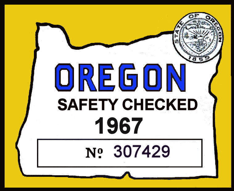 1967 Oregon Safety Check inspection sticker
