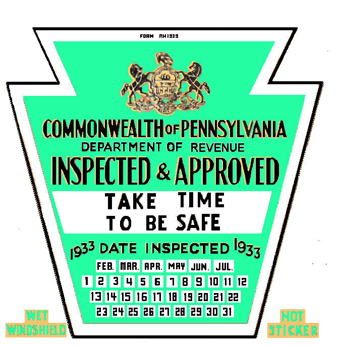 1933 Early Pennsylvania Inspection Sticker