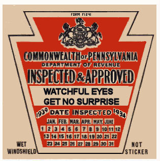 1934 Pennsylvania INSPECTION Sticker Early
