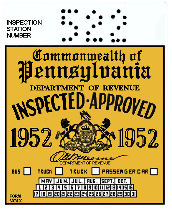 1952 Pennsylvania INSPECTION Sticker