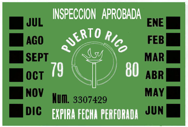 1979-80 Puerto Rico INSPECTION Sticker