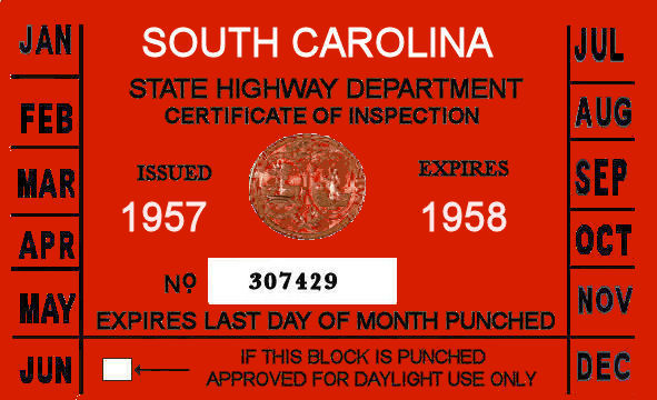 1957-58 South Carolina inspection sticker