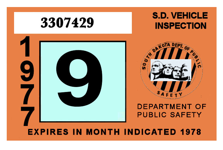 1977-78 South Dakota INSPECTION Sticker