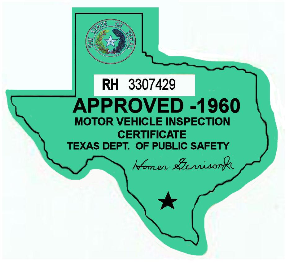 1960 Texas Inspection Sticker