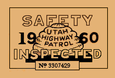 1960 Utah INSPECTION Sticker
