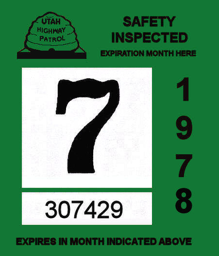 1978 Utah inspection sticker