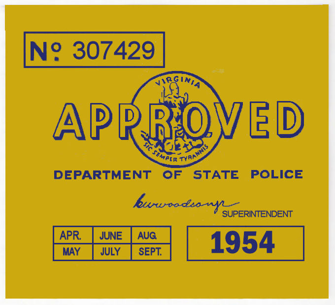 1954 Virginia INSPECTION sticker