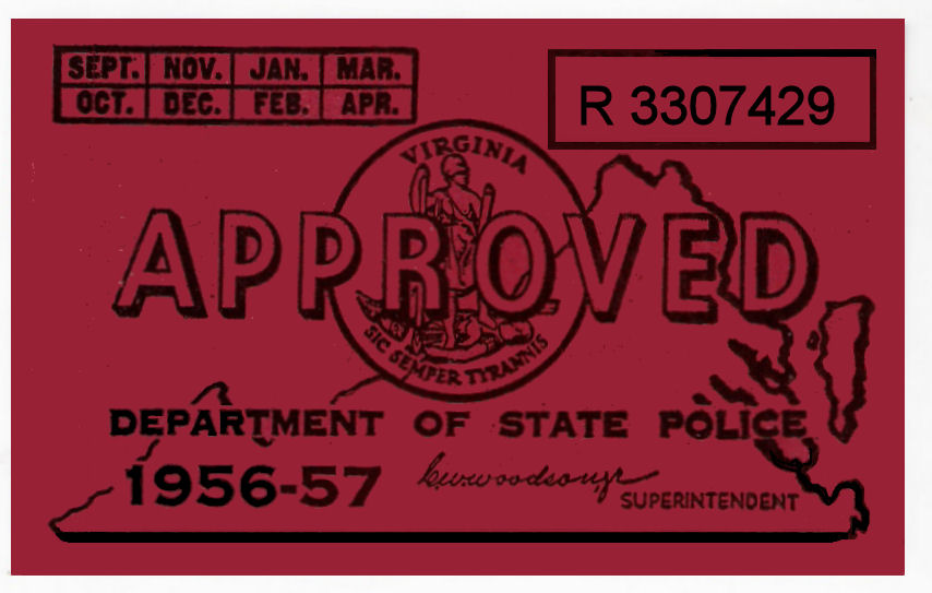 1956-57 Virginia INSPECTION sticker
