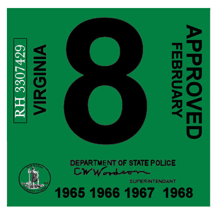 1965 68 Virginia INSPECTION sticker