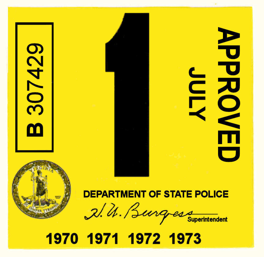 1970-73 Virginia INSPECTION Sticker