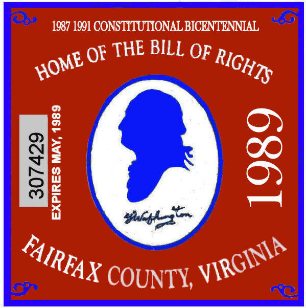 1989 VA Fairfax Centennial sticker