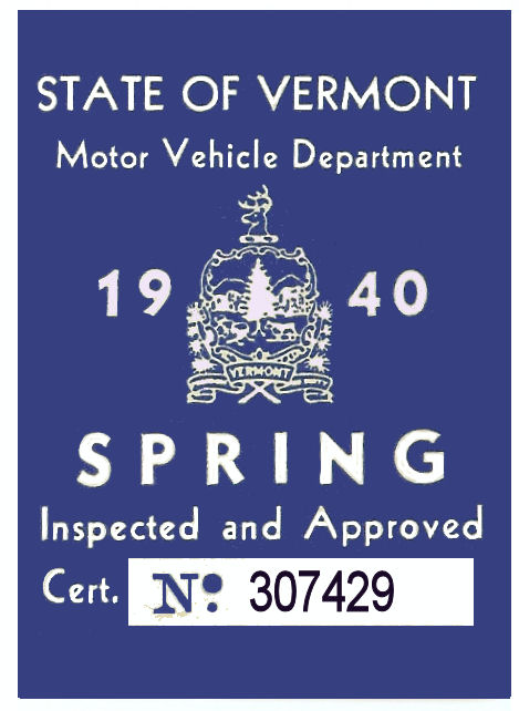 1940 Vermont Spring Inspection Sticker