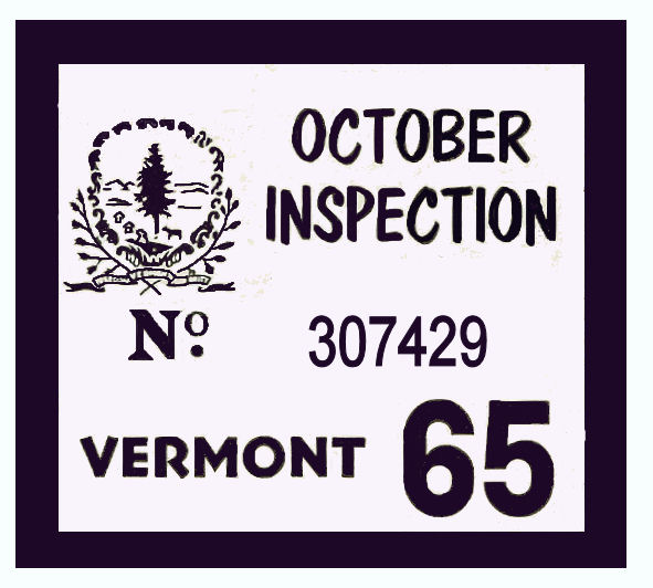1965 Vermont INSPECTION Station