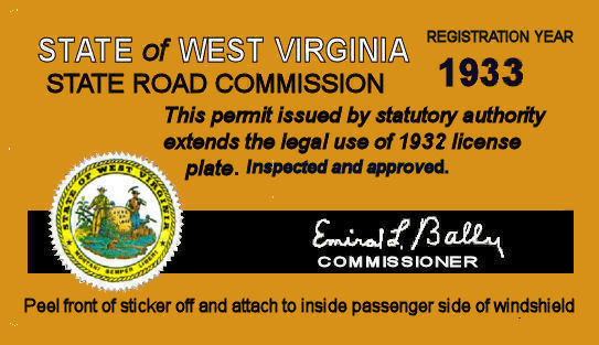 1933 West Virginia Inspection Registration sticker
