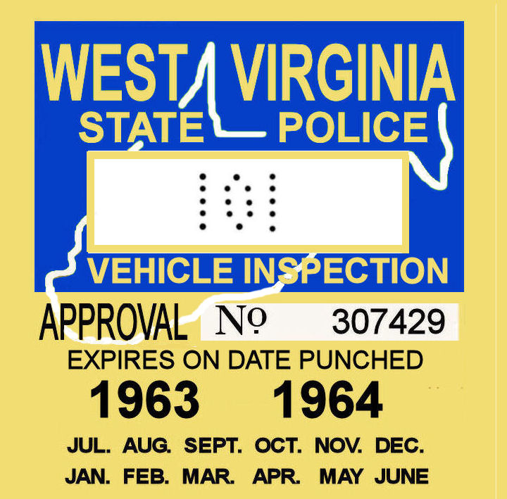 1963-64 WV inspection sticker