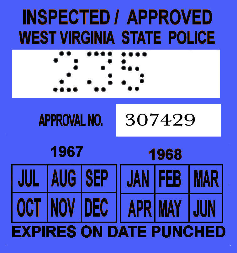 1967-68 West Virginia inspection sticker