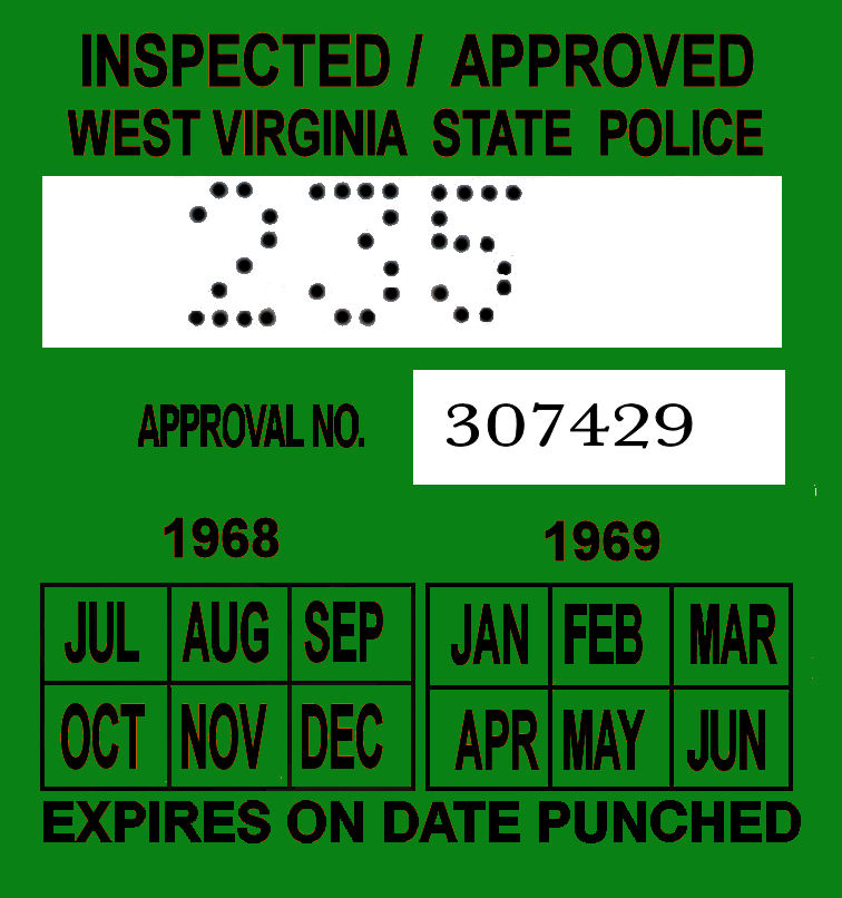 1968-69 West Virginia INSPECTION Sticker