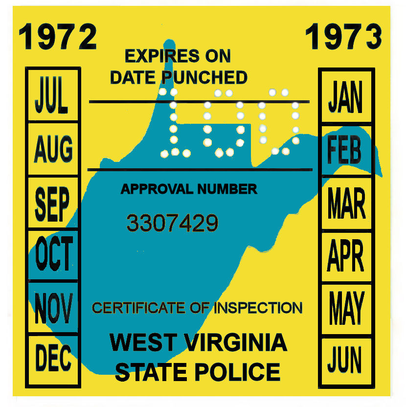 1972-73 West Virginia INSPECTION Sticker