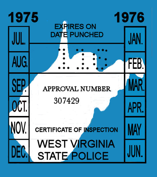 1975-76 West Virginia INSPECTION Sticker