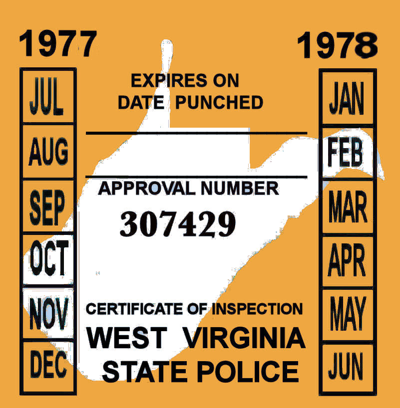 1977-78 West Virginia inspection sticker