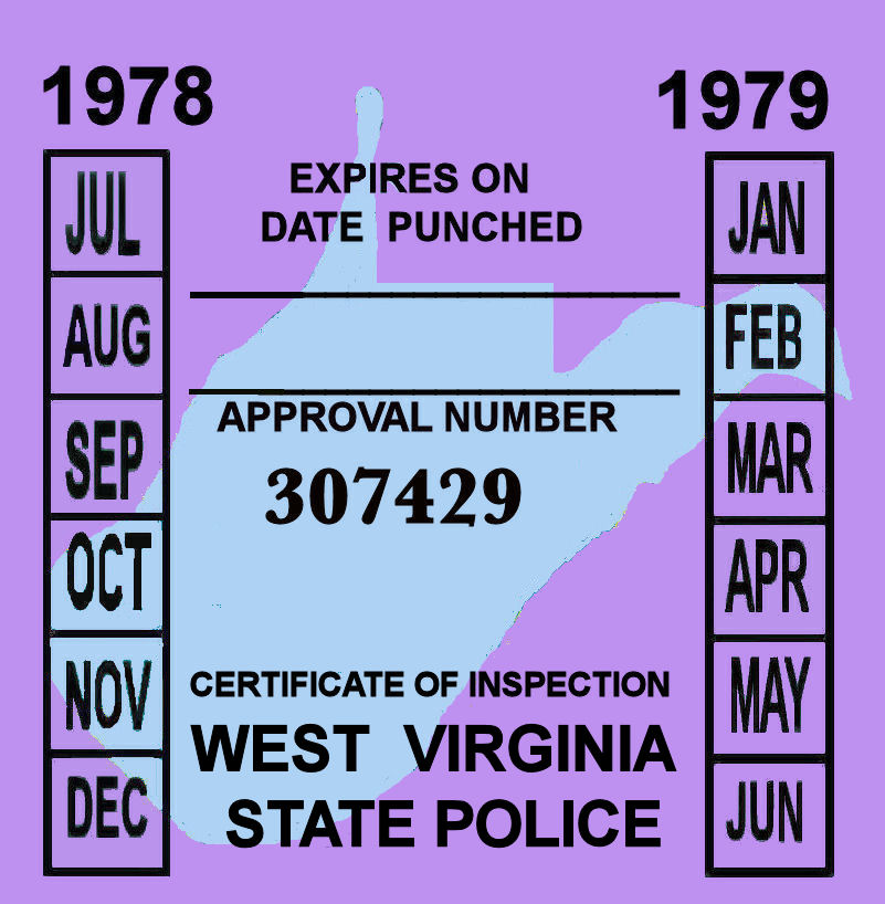 1978-79 West Virginia Inspection Sticker