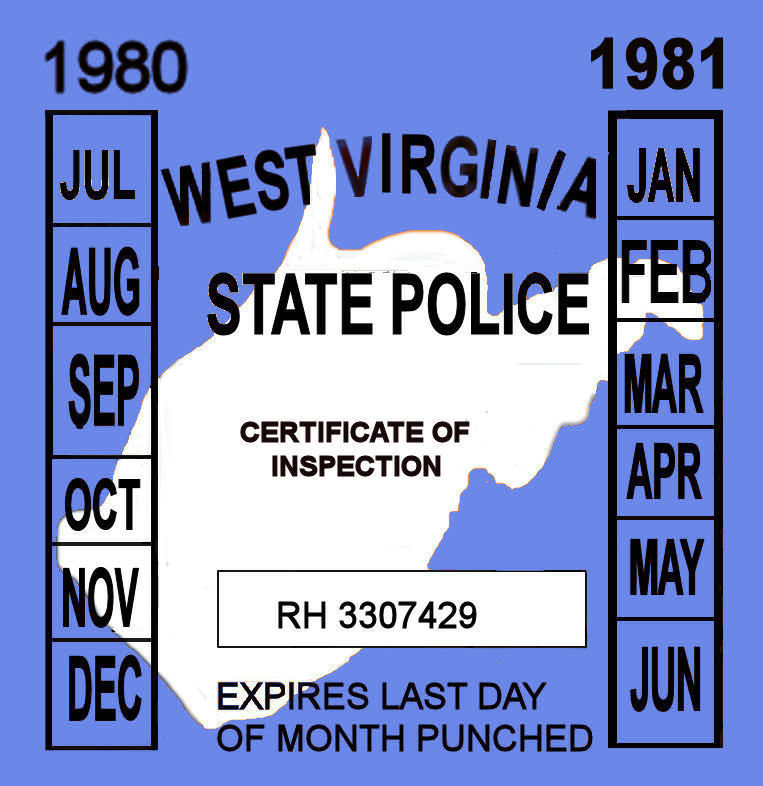 1980-81 West Virginia inspection sticker