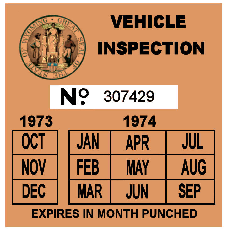 1973-74 Wyoming Inspection sticker
