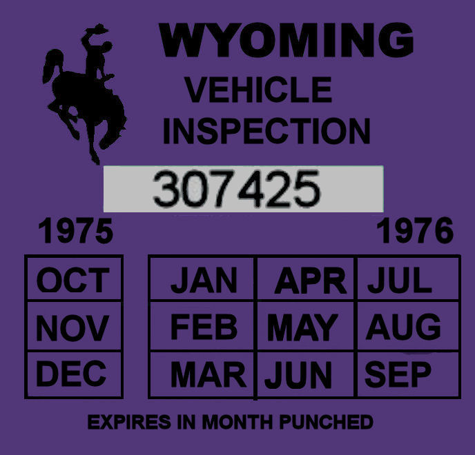1975-76 Wyoming inspection sticker